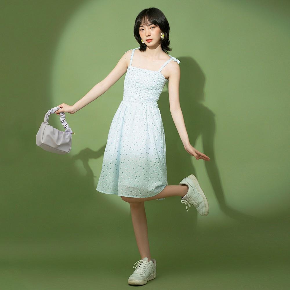 Đầm nữ 2 dây nhún thun dễ thương