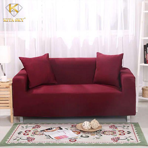Tấm bọc sofa màu đỏ nổi bật, thời thượng