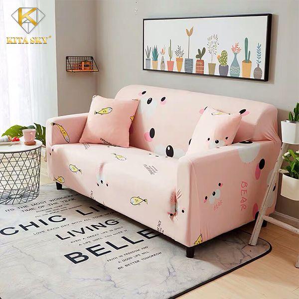 Vỏ bọc sofa rời màu hồng ngọt ngào xinh xắn