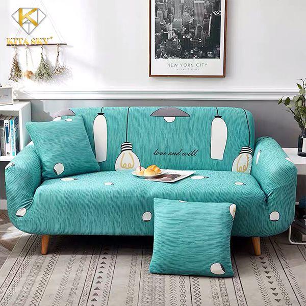 Vỏ bọc sofa xanh ngọc hoa văn cực yêu