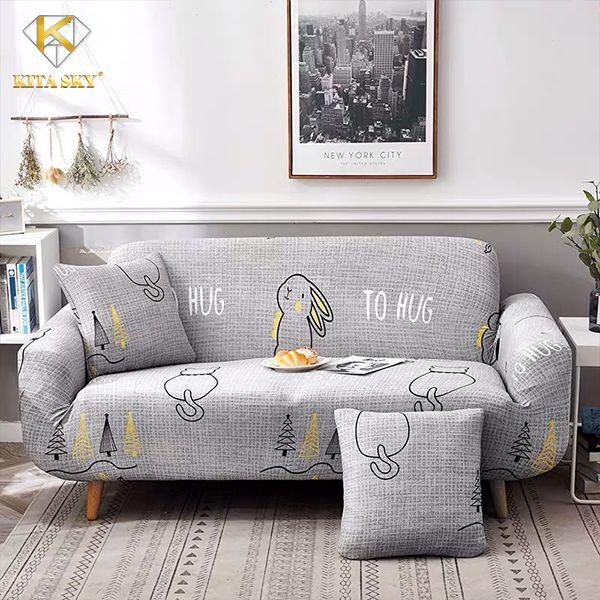 Tấm phủ ghế sofa thỏ con đáng yêu