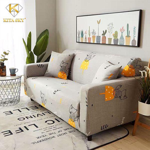 Ra bọc ghế sofa màu xám họa tiết bé cáo cực yêu
