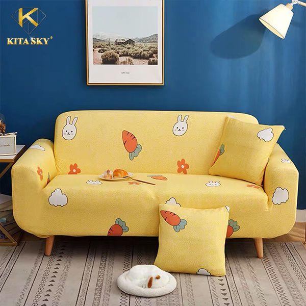Miếng bọc sofa màu vàng bé thỏ cùng cà rốt siêu yêu