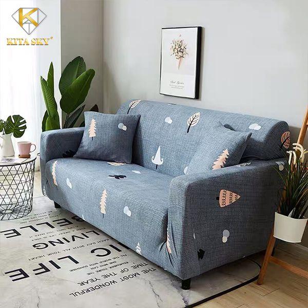 Ga trải ghế sofa màu xám hoa văn nhẹ nhàng dễ phối với nhiều không gian