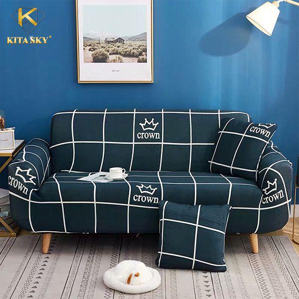 Ga phủ sofa kẻ sọc vương miện crown
