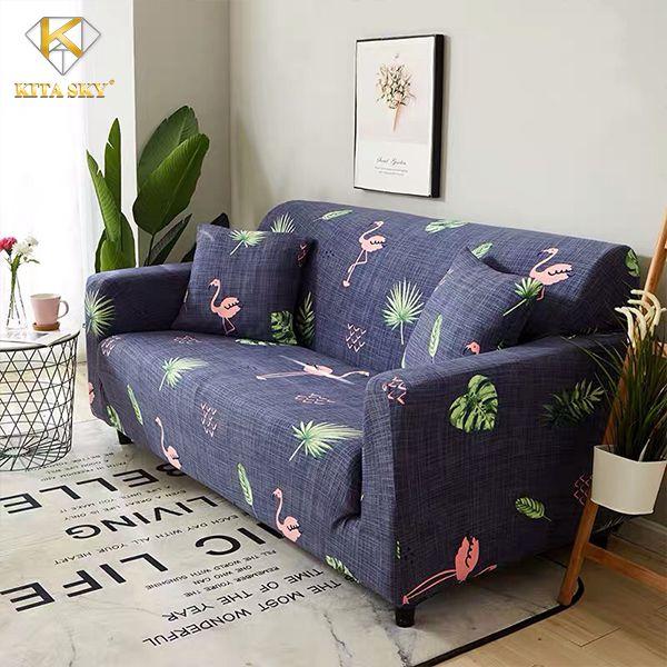 Drap trùm sofa xanh đen hoa lá