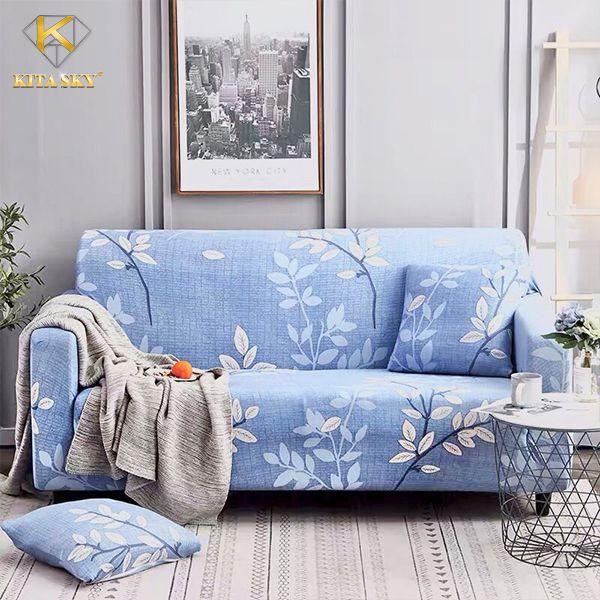 Drap trải ghế sofa hoa lá
