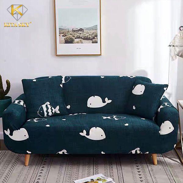 Drap phủ sofa cá voi xanh cực xinh