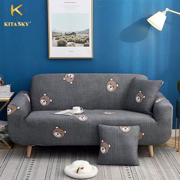 Chăn phủ sofa họa tiết bé gấu