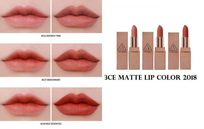 son lì Hàn Quốc  6. Son 3CE Matte Lip Color Mẫu Vỏ Vàng 2018 – Son Thỏi Lì Hàn Quốc