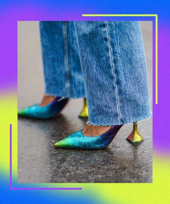 quần ống rộng phối với giày gì